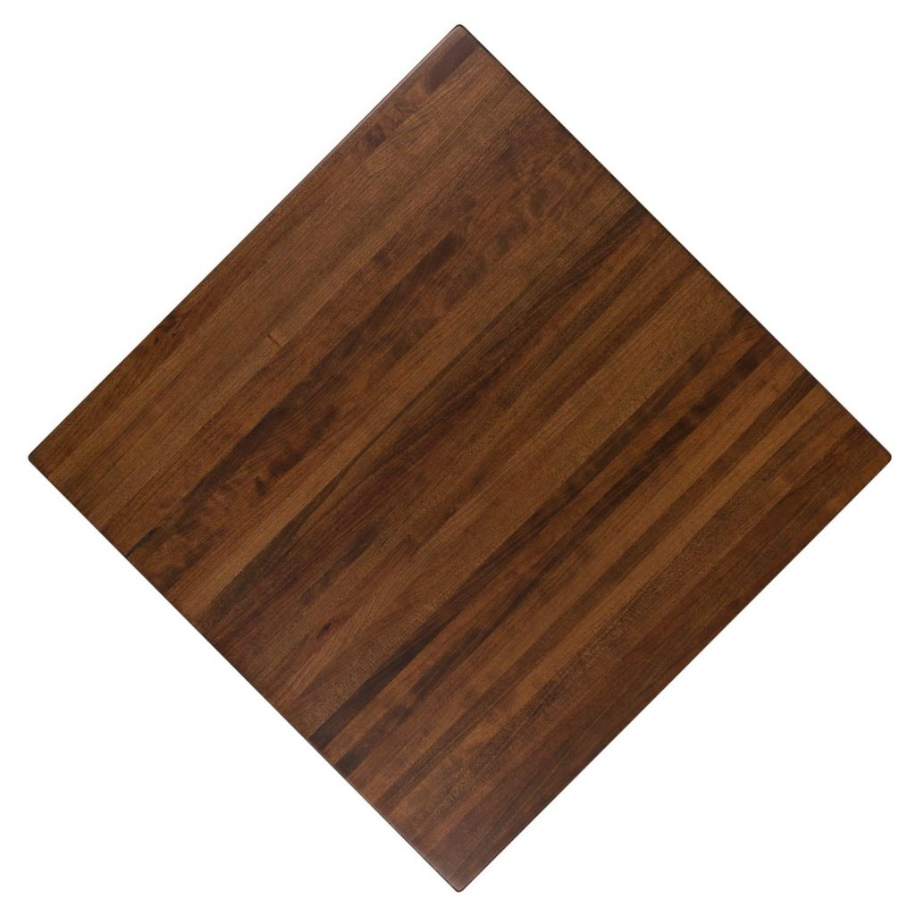 Solid Wood Butcher Block Cherry Pecan Color Restaurant Tabletop. Available in any shape or size and guaranteed to last.