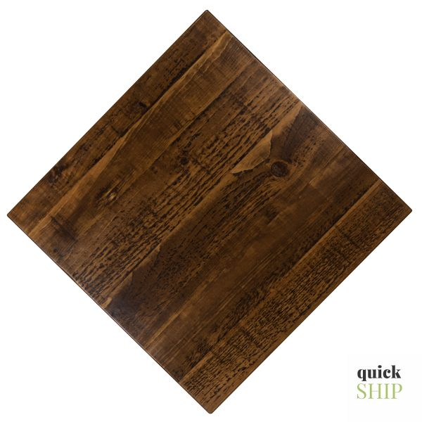 Rustic texture Pine wood restaurant tabletops. Commercial tables built to last.