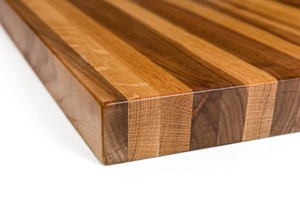 Solid butcher block restaurant tables built with Walnut and Oak wood.