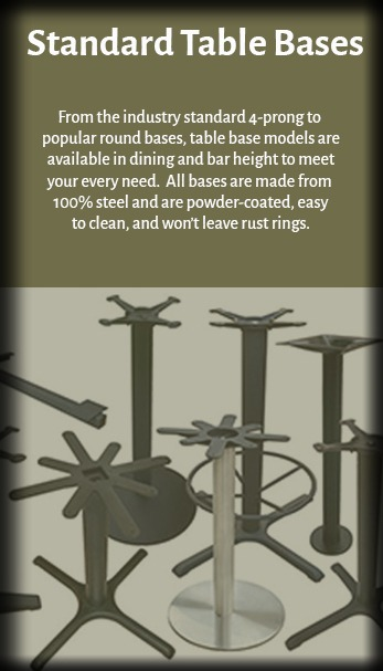 Standard Cast Iron Restaurant Table bases for all shapes and sizes of tables.
